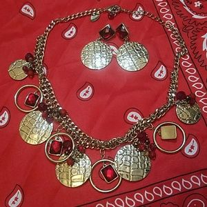 WHBM RED & GOLD NECKLACE EARRING SET